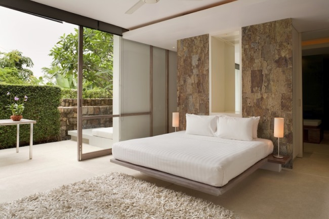 idee amenajare dormitor modern decor piatra naturala