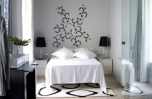 idee amenajare dormitor modern mic alb si negru