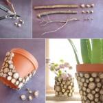 idee ornare ghiveci veci cu bucatele de lemn