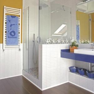 idei amenajare baie moderna alb albastru cabina dus perete inzidit