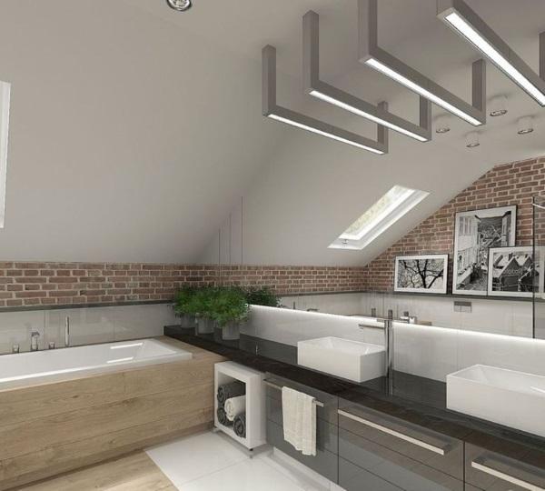 idei amenajare baie moderna cu accente industriale pardoseala placata cu parchet impermeabil