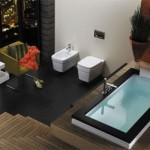 idei amenajare baie moderna lux alb rosu negru
