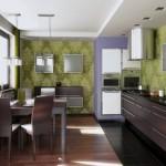 idei amenajare bucatarie moderna wenge si verde