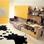 idei amenajare camera adolescent galben gri