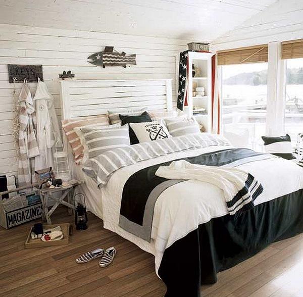idei amenajare dormitor alb si bleumarin stil maritim