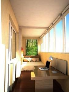 idei amenajare dormitor si birou in balcon adanc tip loja apartament