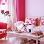 idei amenajare living colorat decorat in alb si roz