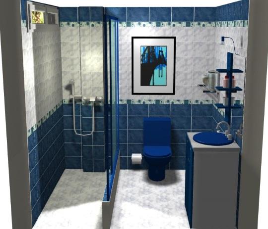 idei combinare faianta bleumarin gri si alb decor baie moderna