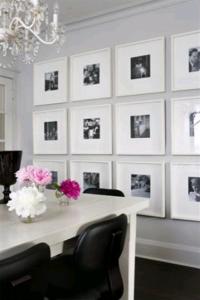 idei decor perete dining poze familie in rame albe identice cu passepartout