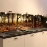imprimeu decorativ imagine padure sticla securizata perete blat lucru bucatarie