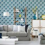 imprimeu forma geometrice tapet decor living eclectic