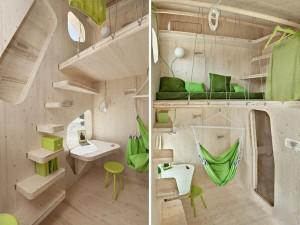 interior casa mica ecologica locuinta individuala studenti suedezi 10 mp