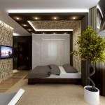 interior dormitor amenajat modern wenge spoturi tavan