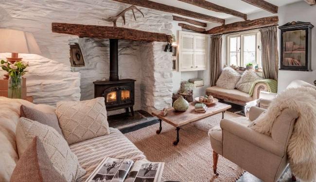 interior living rustic pereti albi