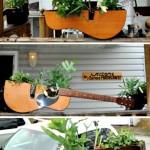 jardiniere decorative handmade din chitare vechi