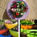 jardiniere si ghivece decorative pentru gradina din cauciucuri vechi reciclate