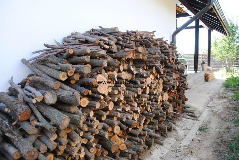 lemne de foc in spatele casei