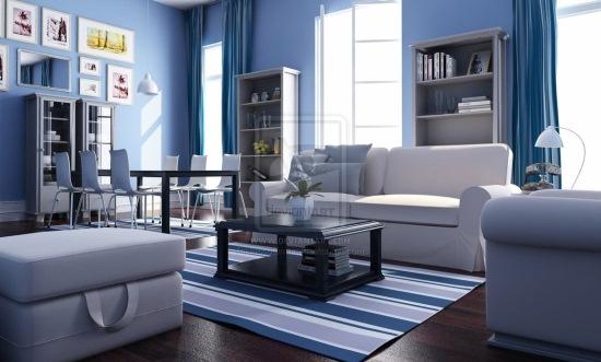 living albastru mobila alba