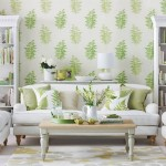 living amenajat in stil clasic tapet decorativ alb cu imprimeu floral vernil