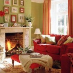 living decorat in vernil si caramiziu inspirat de toamna