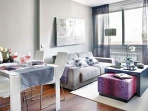 living mic apartament amenajat in alb si gri design modern