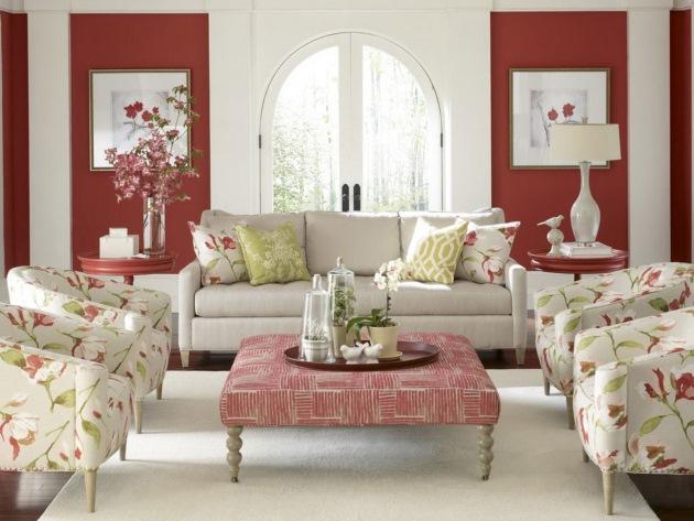 living mobila alba perete rosu