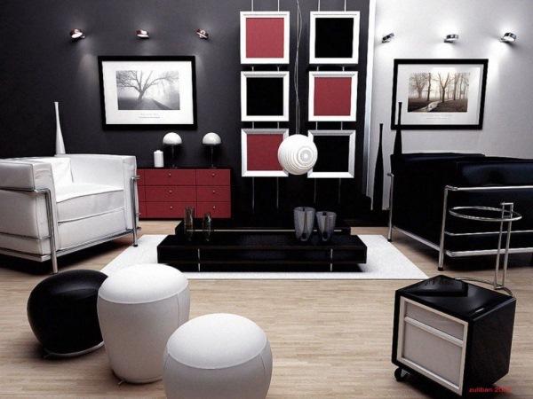 living modern alb negru rosu