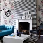 living modern decorat cu doua modele de tapet