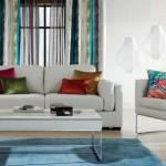 living modern inspiratie tropicala alb bleu turcoaz