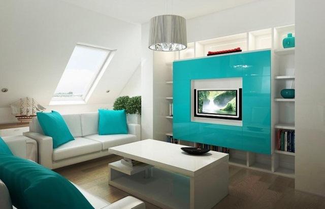 living modern mansarda bleu alb