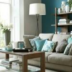 living modern relaxant decorat in nuante de albastru