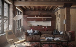 living open space stil industrial vintage