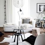 living scandinav amenajat alb negru