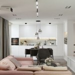 living si bucatarie open space amenajare apartament cu accent roz pudrat