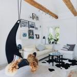 living stil scandinav fotoliu balansoar impletit suspendat de tavan