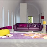 living ultra modern amenajat in alb mov galben si fuchsia