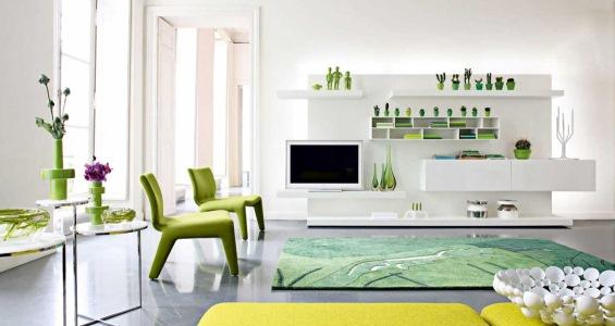living verde alb minimalist