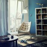loc de citit living modern perete zugravit in albastru