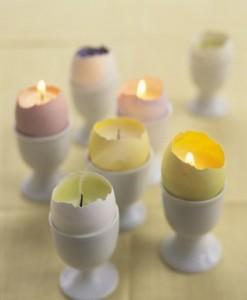 lumanari decorative de paste din coji de oua colorate