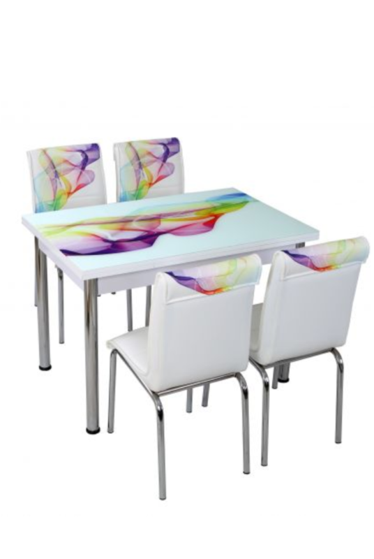 masa bucatarie sticla 4 scaune