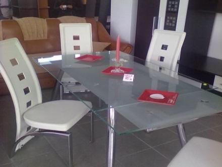 masa sticla inox scaune