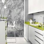 mobila alb si vernil bucatarie moderna mica open space apartament mic 40 mp