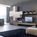 mobila bicolora crem si cappuccino living modern minimalist