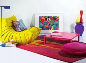 mobila colorata pentru living modern