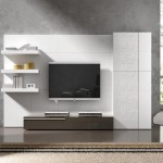 mobila design modern living alb mat cu maro lucios