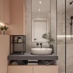 mobila design modern roz pudrat si gri amenajare baie apartament 69 mp