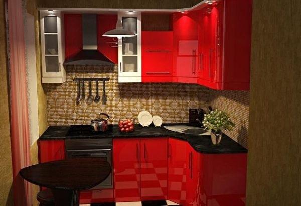 mobila forma literei L culoare rosie bucatarie mica