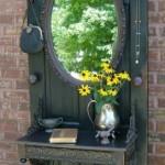 mobila hol handmade din usa veche de lemn reciclata