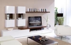 mobila moderna living combinatie alb cu maro