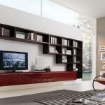 mobila moderna living rosu grena lucios cu maro mat
